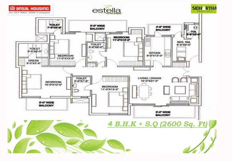 Ansal estella estella resale dwarka expressway for 2600 square foot house plans