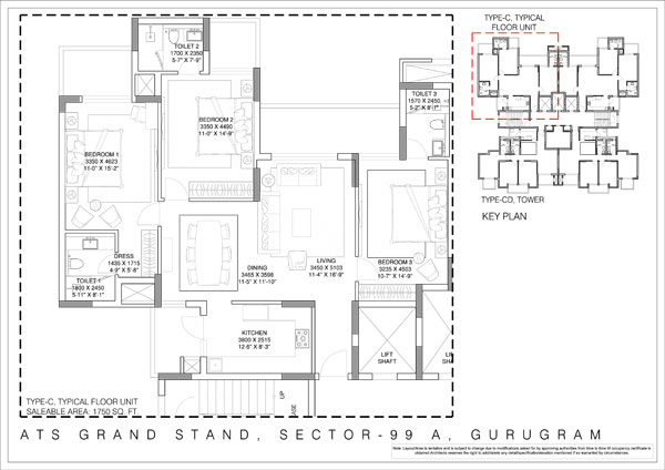 3 BHK + 3T ( 1750 Sq.Ft.)