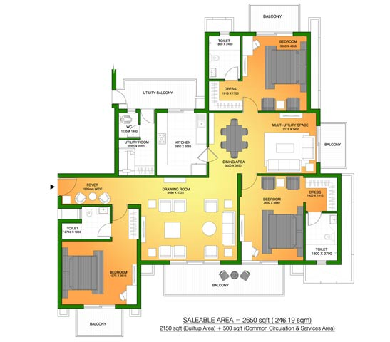 ats marigold apartments floorplan 3bhk 2650sq.ft.