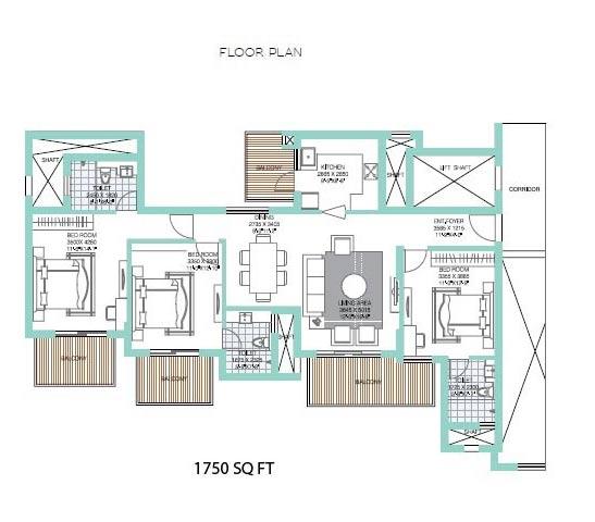 ats tourmaline apartments floorplan 3bhk 1750
