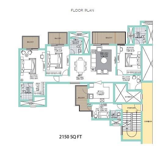 ats tourmaline apartments floorplan 3bhk 2150