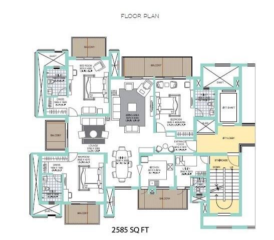 ats tourmaline apartments floorplan 3bhk 2585