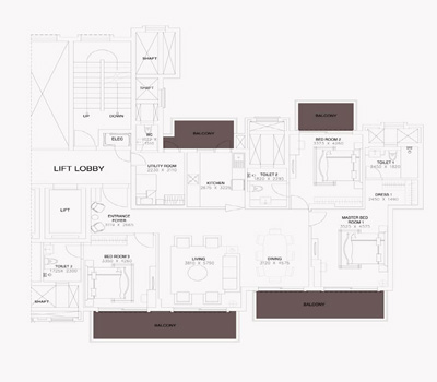 ats triumph apartment floorplan 3bhk 2290sq.ft.