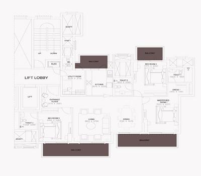 ats triumph apartment floorplan 3bhk 2290sq.ft.