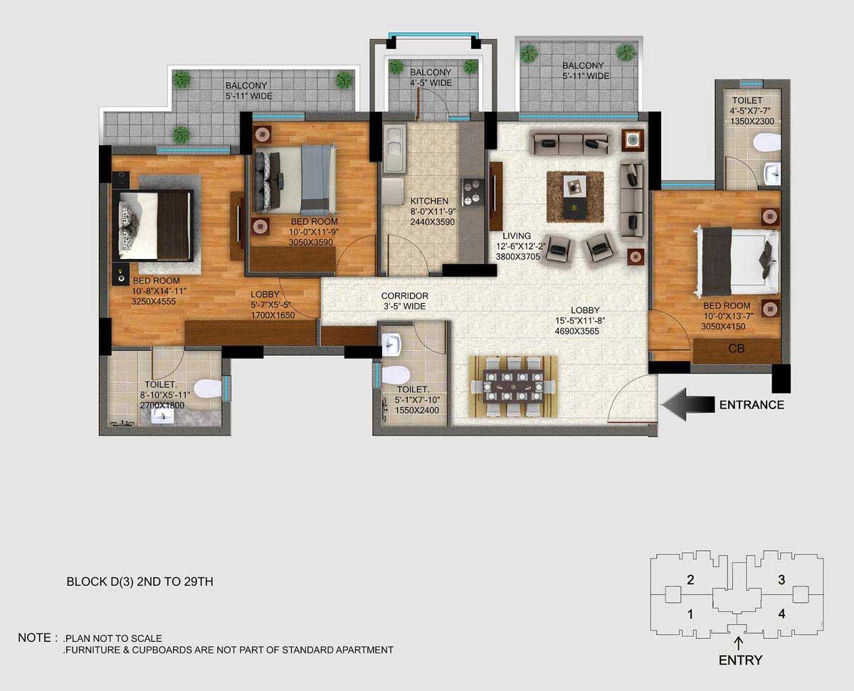 1703 sq.ft. regal gardens floor plan