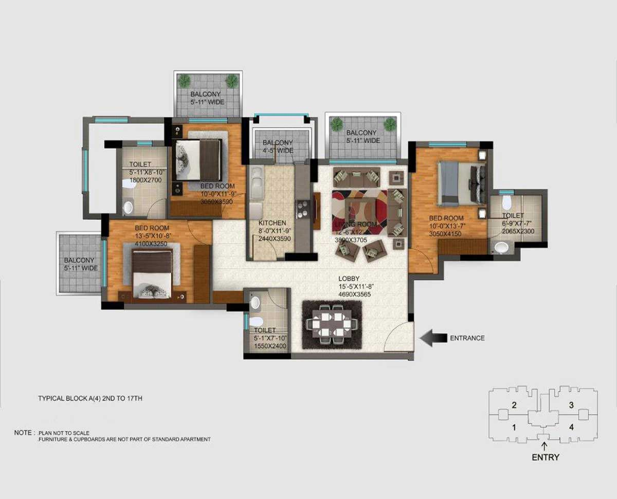 1755 sq.ft. regal gardens floor plan