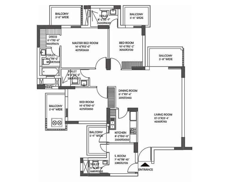 2100 sq.ft. DLF Ultima Floor Plan