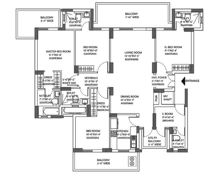 2800 sq.ft. DLF Ultima Floor Plan
