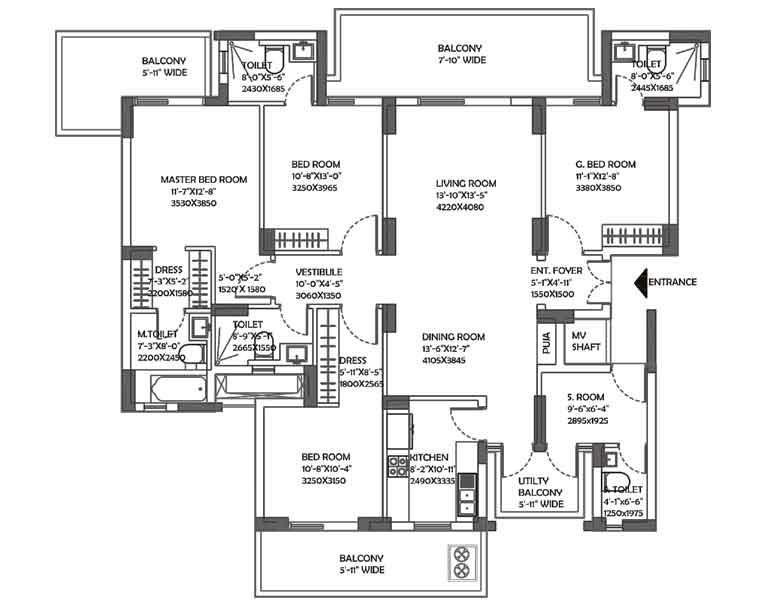 2800 sq.ft. DLF Ultima Floor Plan