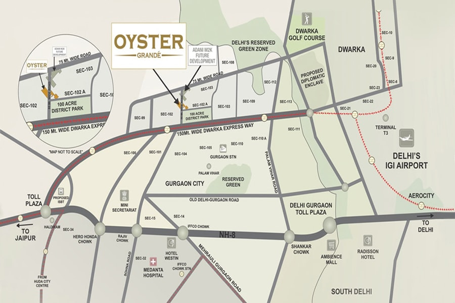 Adani Oyster Grande Location Map