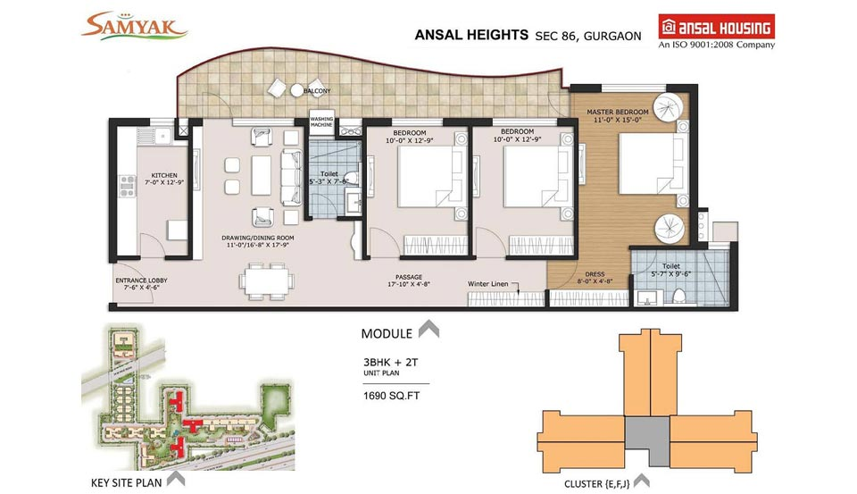 Ansal Heights86 1690 Sqft 3BHK