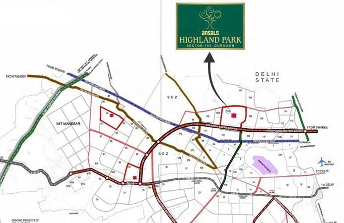 Ansal Highland Park Location Map