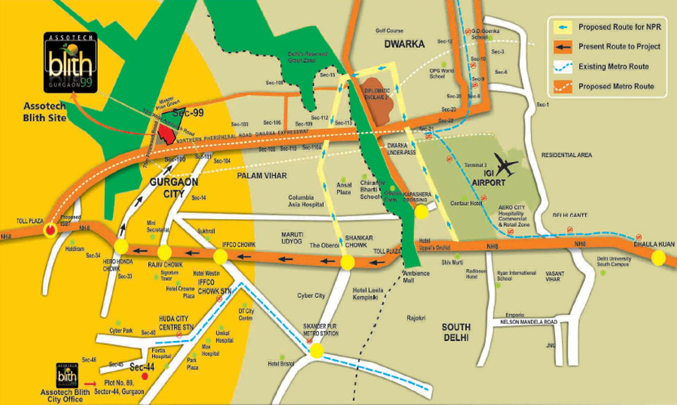 Assotech Blith Gurgaon Location Map
