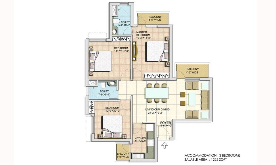 BPTP Spacio 37D 1225 Sqft 3BHK