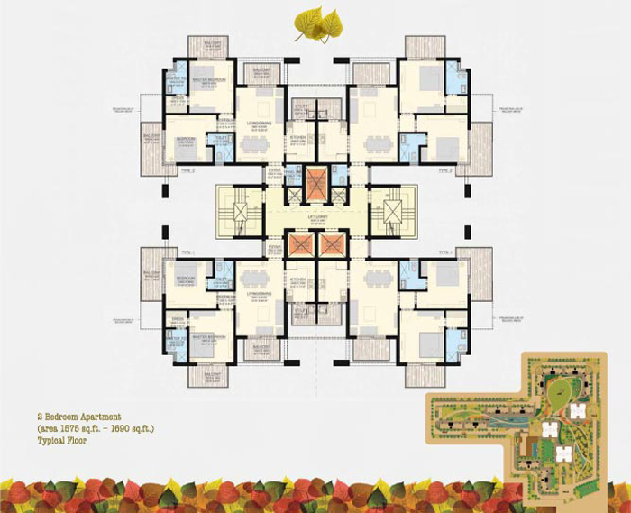 SS Group The Leaf 85 1575/1690 Sqft 3BHK