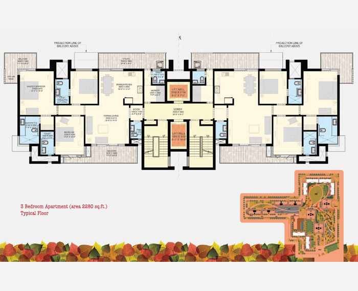 SS Group The Leaf 85 2280 Sqft 3BHK + 3T