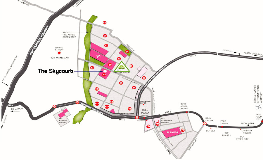 Location map of DLF Skycourt