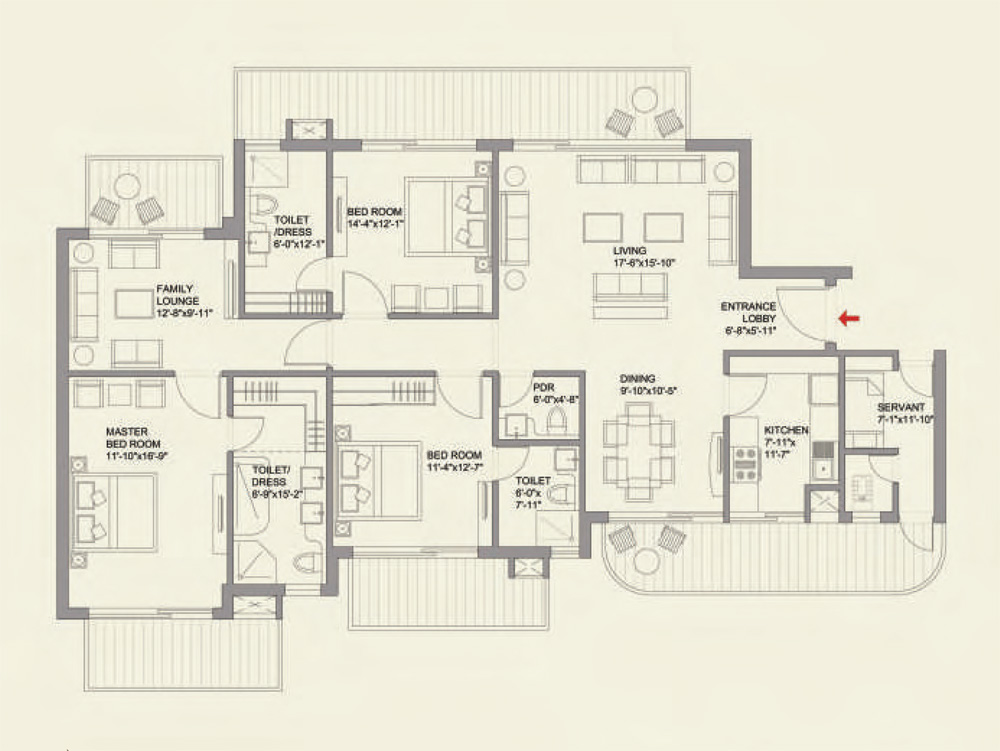 3BHK + Family Lounge + Servant Floor Plan of ParkView GrandSpa