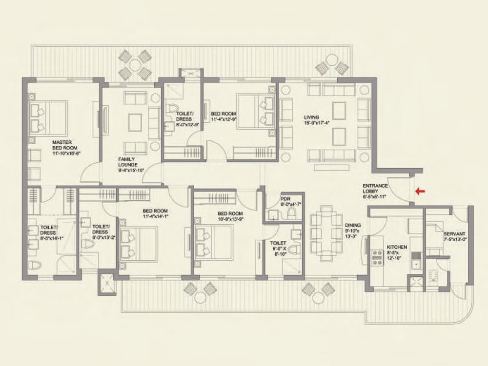 4BHK + Family Lounge + Servant Floor Plan of ParkView GrandSpa