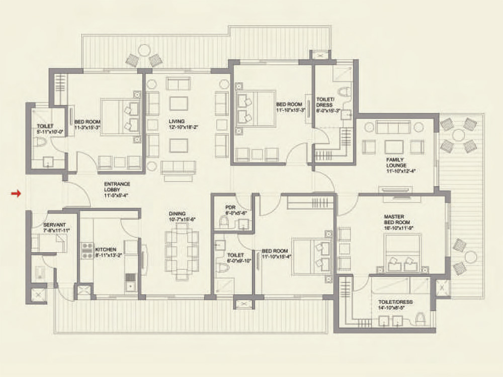 4BHK Deluxe + Family Lounge + Servant Floor Plan of ParkView GrandSpa