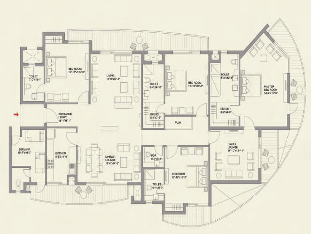 4BHK + Family Lounge + Servant (Signature Tower) Floor Plan