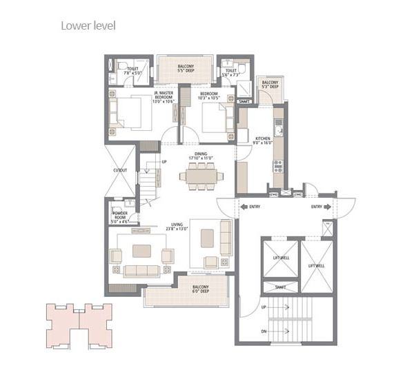 Gurgaon Greens 3BHK Floor Plan Lower Level