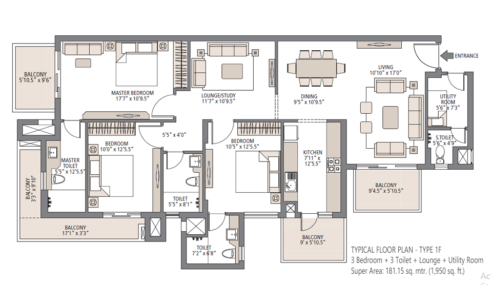 Palm Garden 3BHK Floor Plan